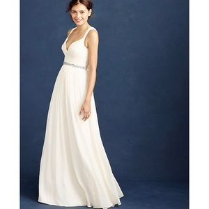 New J. Crew Ivory Gigi Silk Gown Dress